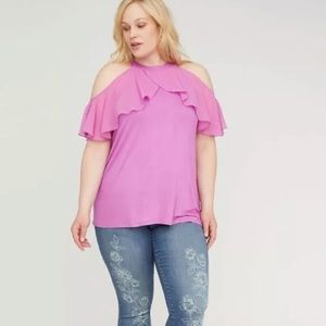 LANE BRYANT Ruffle Halter Top Radiant Orchid Pink